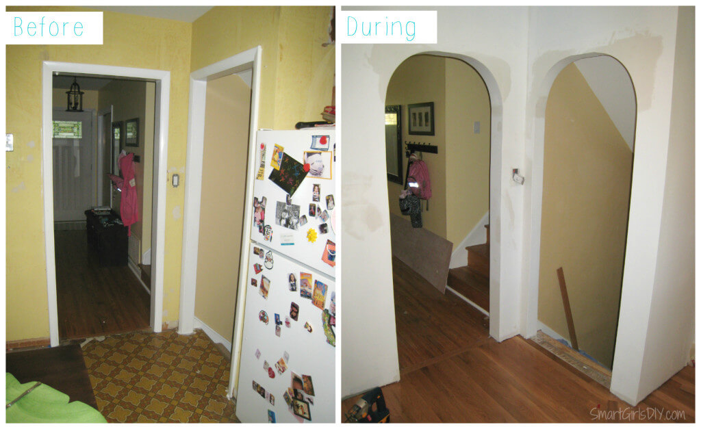 Turning doorways into archways - Smart Girls DIY Kitchen makeover