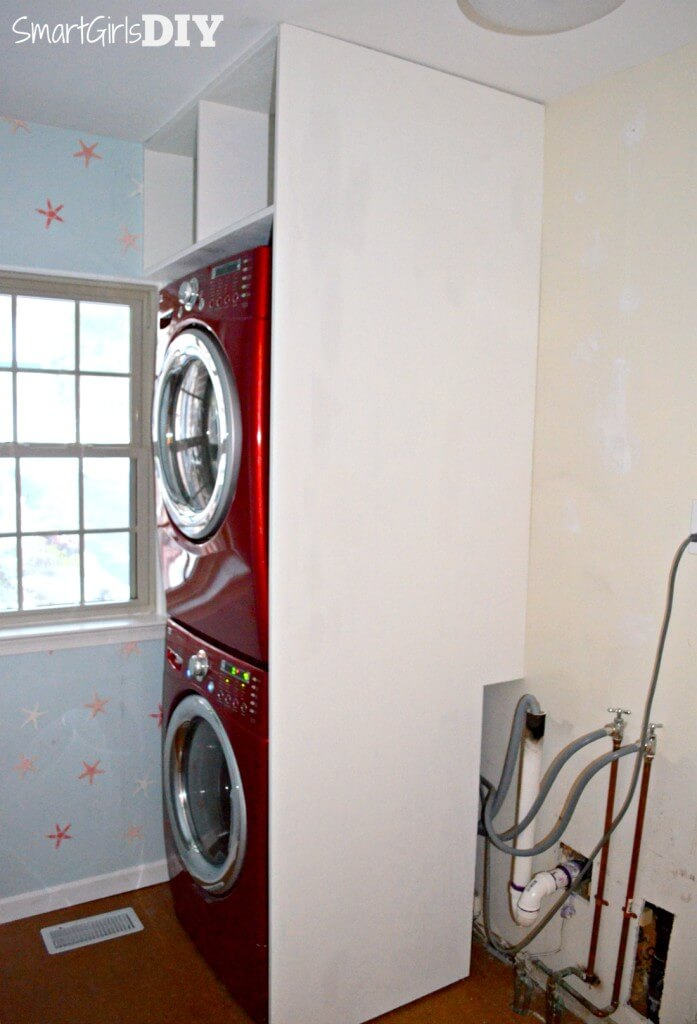How to maximize storage above a stacked washer dryer -- Smart Girls DIY