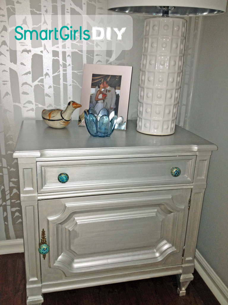 silver painted furniture. Metallic Painted Furniture Silver Chest Of Drawers Dresser. Side Table Redo