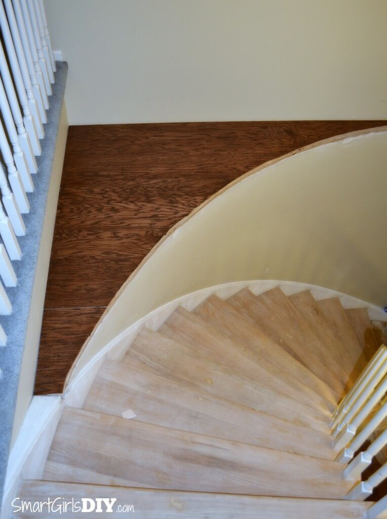 Staircase platformed fixed with stained plywood