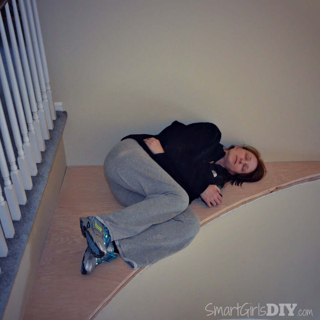 Tired after a long day of renovating the staircase