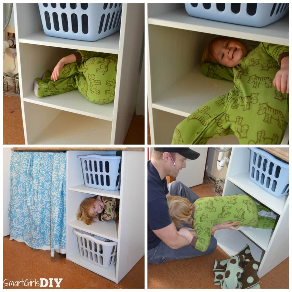 DIY Laundry Basket Shelf -- makes a great playhouse for a 2 year old