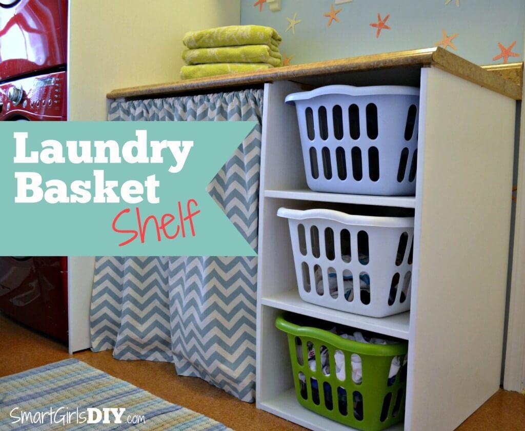 Laundry Basket Shelf -- Smart Girls DIY