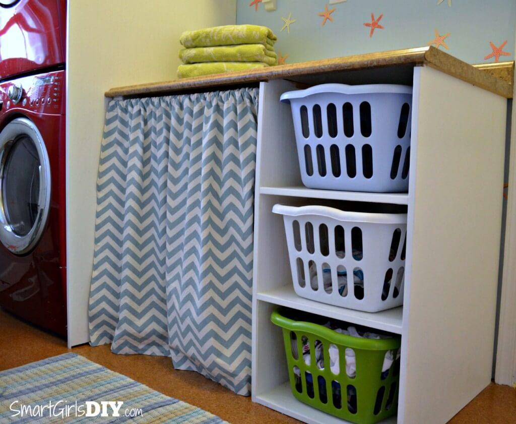 Laundry Basket Shelf and Bathroom Remodel by Smart Girls DIY