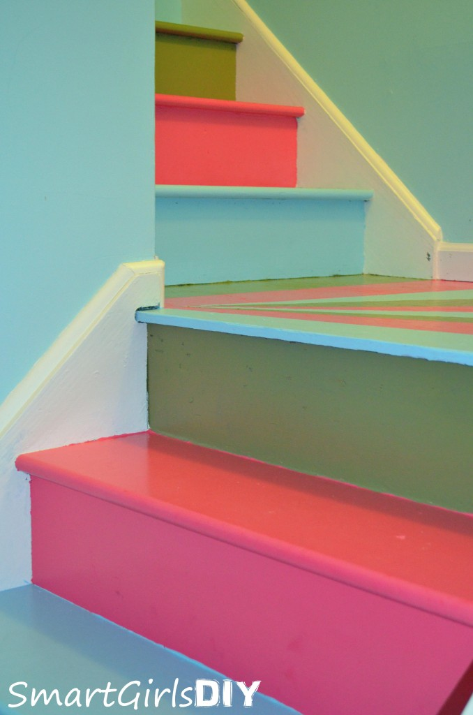 DIY multi colored staircase makeover