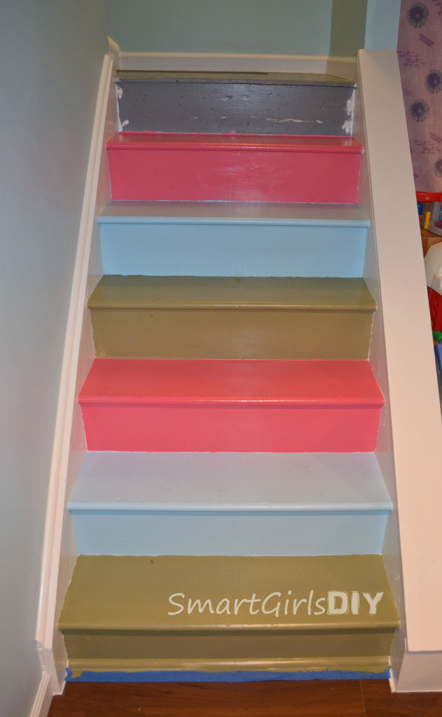 awesome painted basement stairs. Black Bedroom Furniture Sets. Home Design Ideas