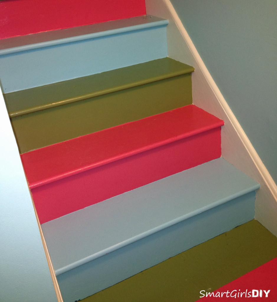 Rainbow painted basement stair makeover
