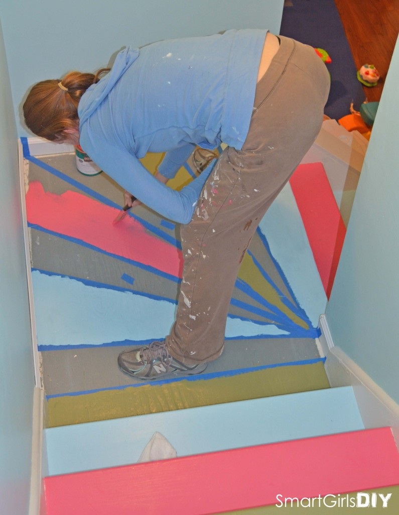 Smart Girl Painting Basement Stairs