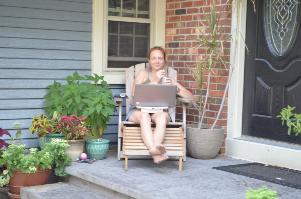 Blogging on the porch