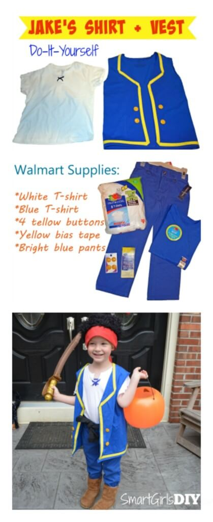 Great tutorial on how to make Jake's pirate shirt and vest for Halloween