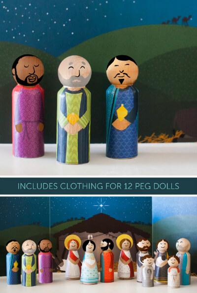 Caravan Shoppe Oh Holy Night Nativity Peg Dolls