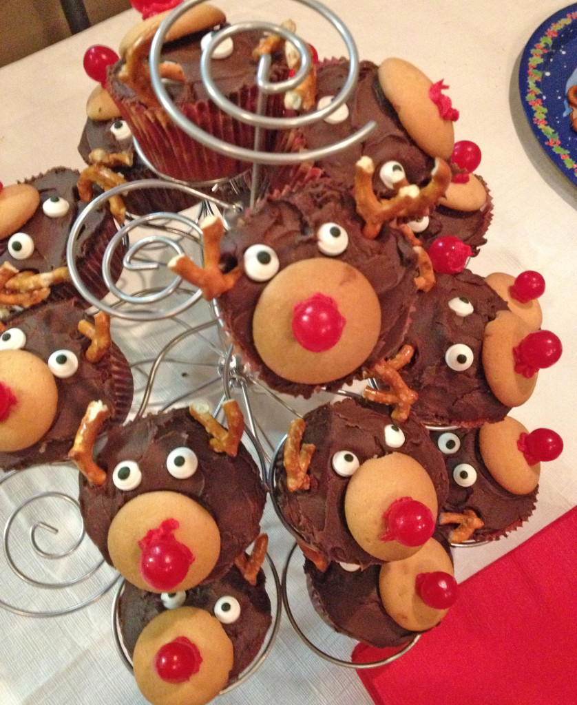 Rudolph Cupcakes on stand
