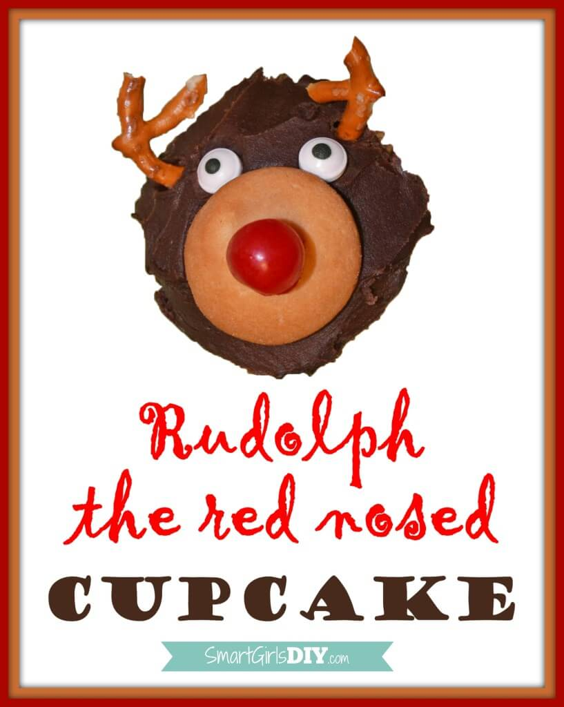Rudolph the Red Nosed Cupcake -- easy food craft for the kids.pg