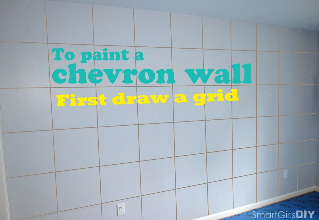 To Paint a Chevron Wall first draw a grid