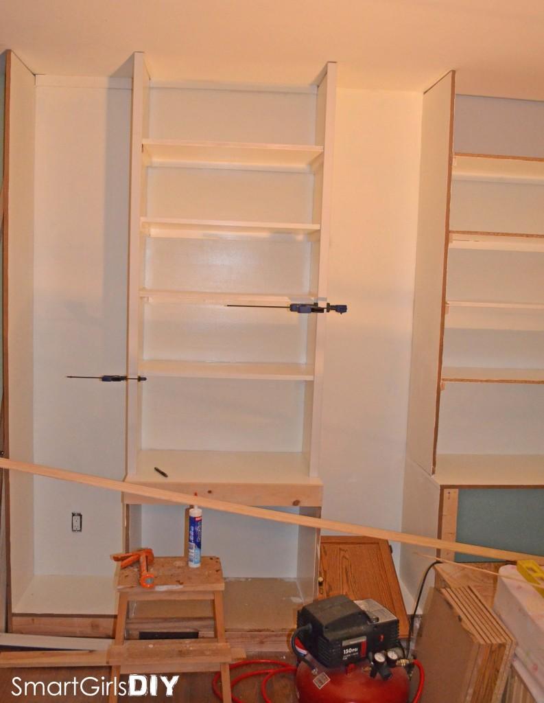 Adding vertical trim to shelves