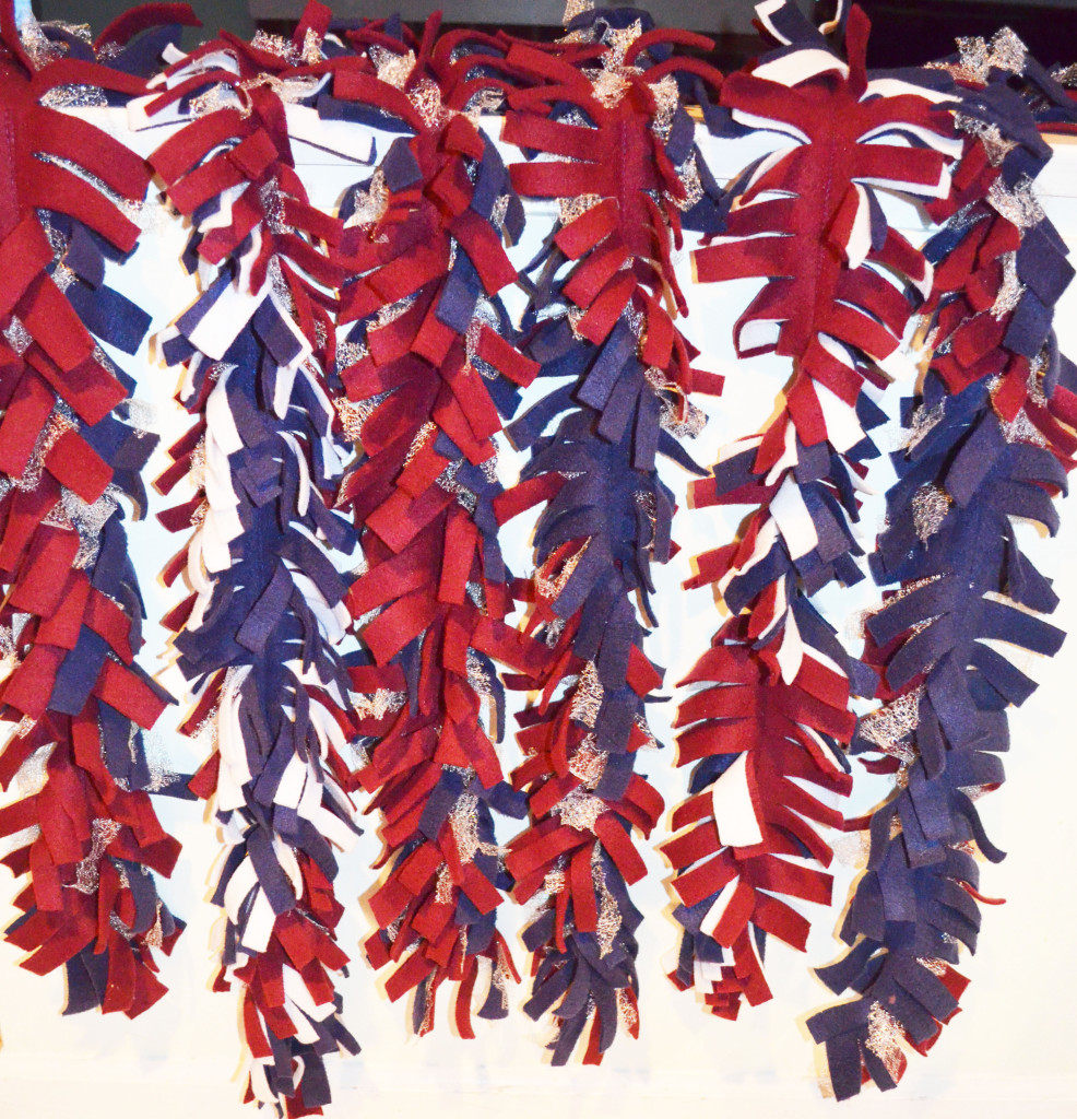 DIY school fleece scarves in school colors