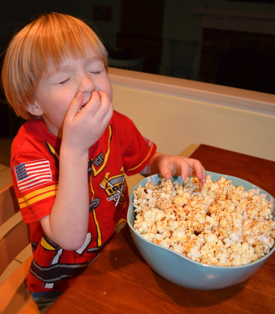 Happy with mommy's homemade kettle corn