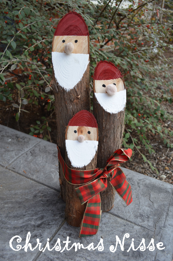Smart Girls DIY - Cedar Log Christmas Nisse Decorations