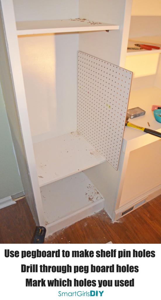 Using peg-board to mark shelf pin holes