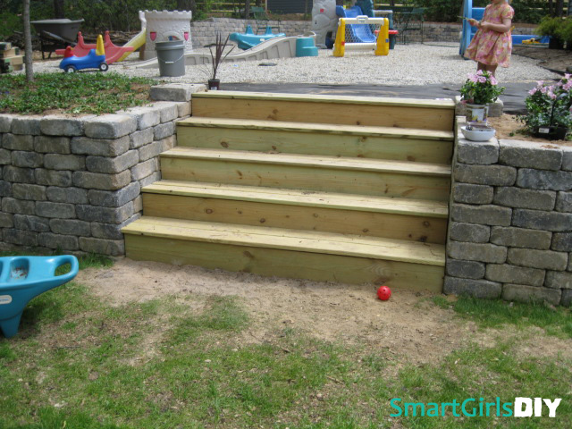DIY retaining wall and stairs