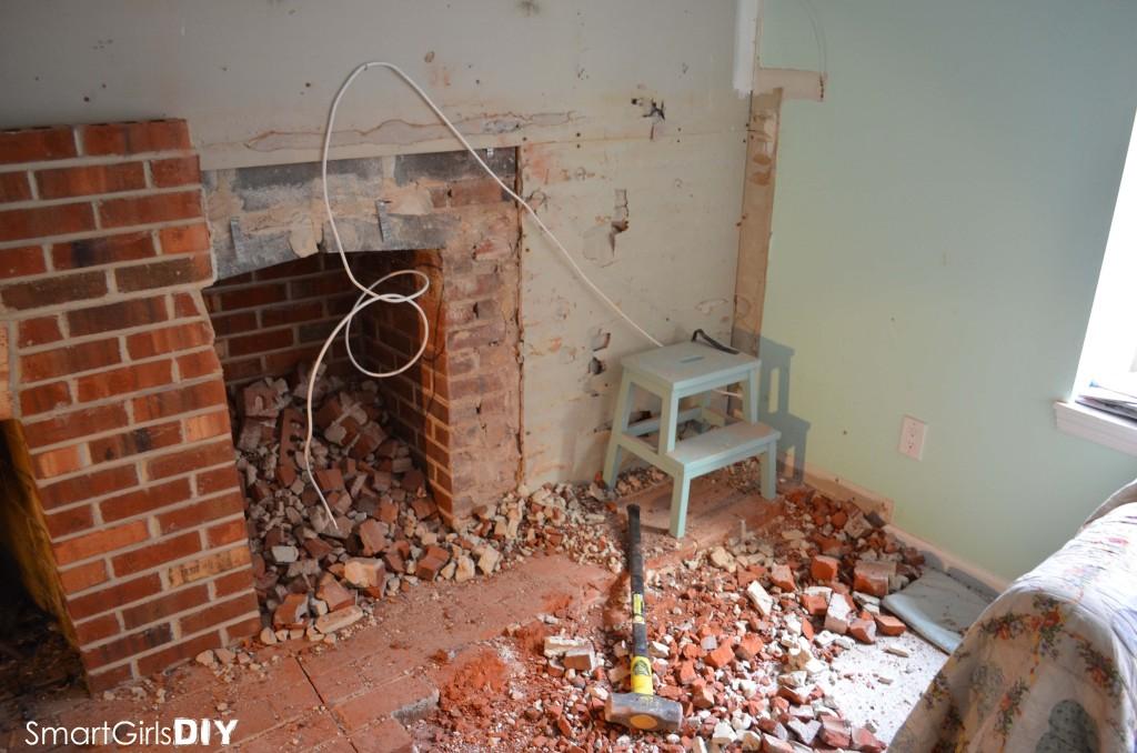 Brick fireplace wall gone