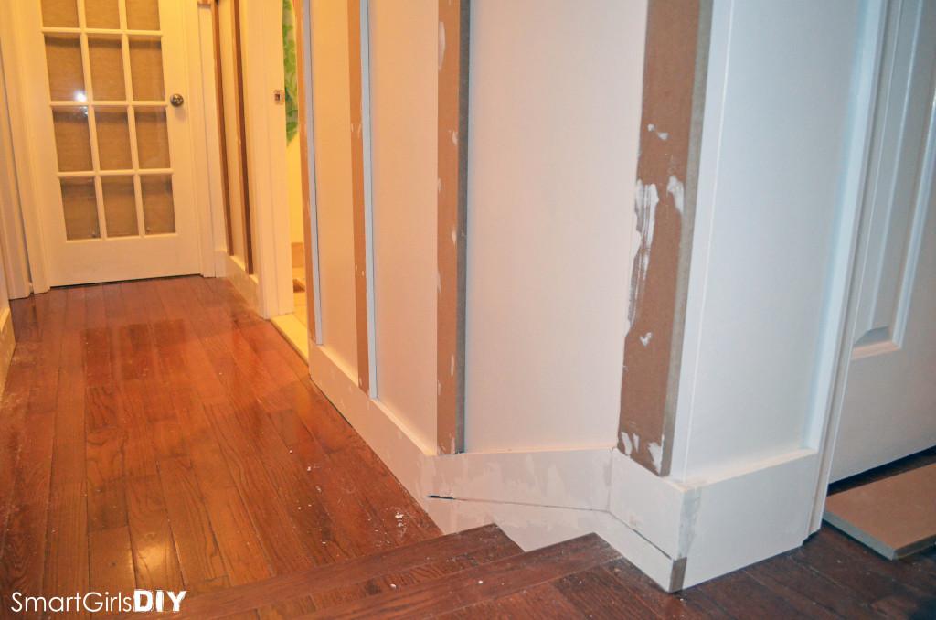 DIY board and batten paneling - outside corner