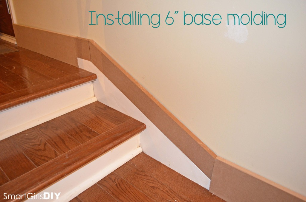Installing 6 inch base molding for board and batten