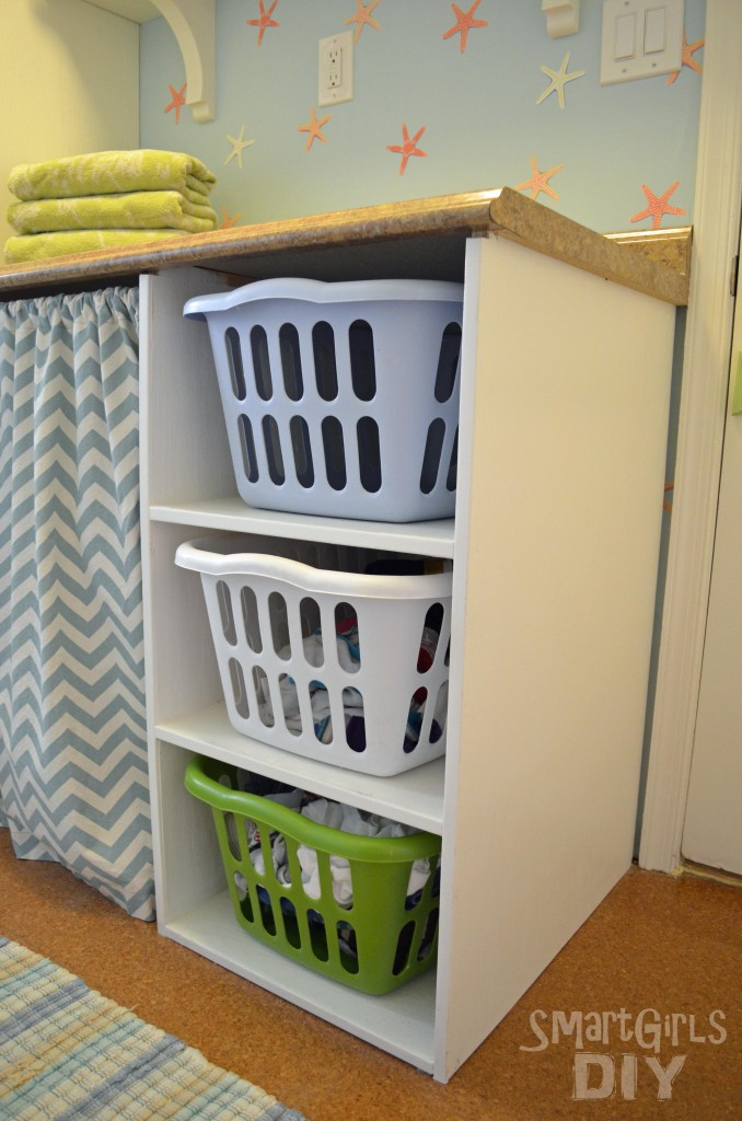 Laundry Basket Shelf - holds and organizes 3 baskets