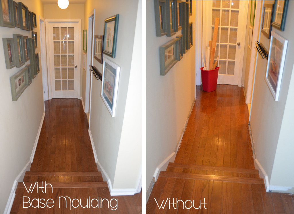 Removing base molding in hallway