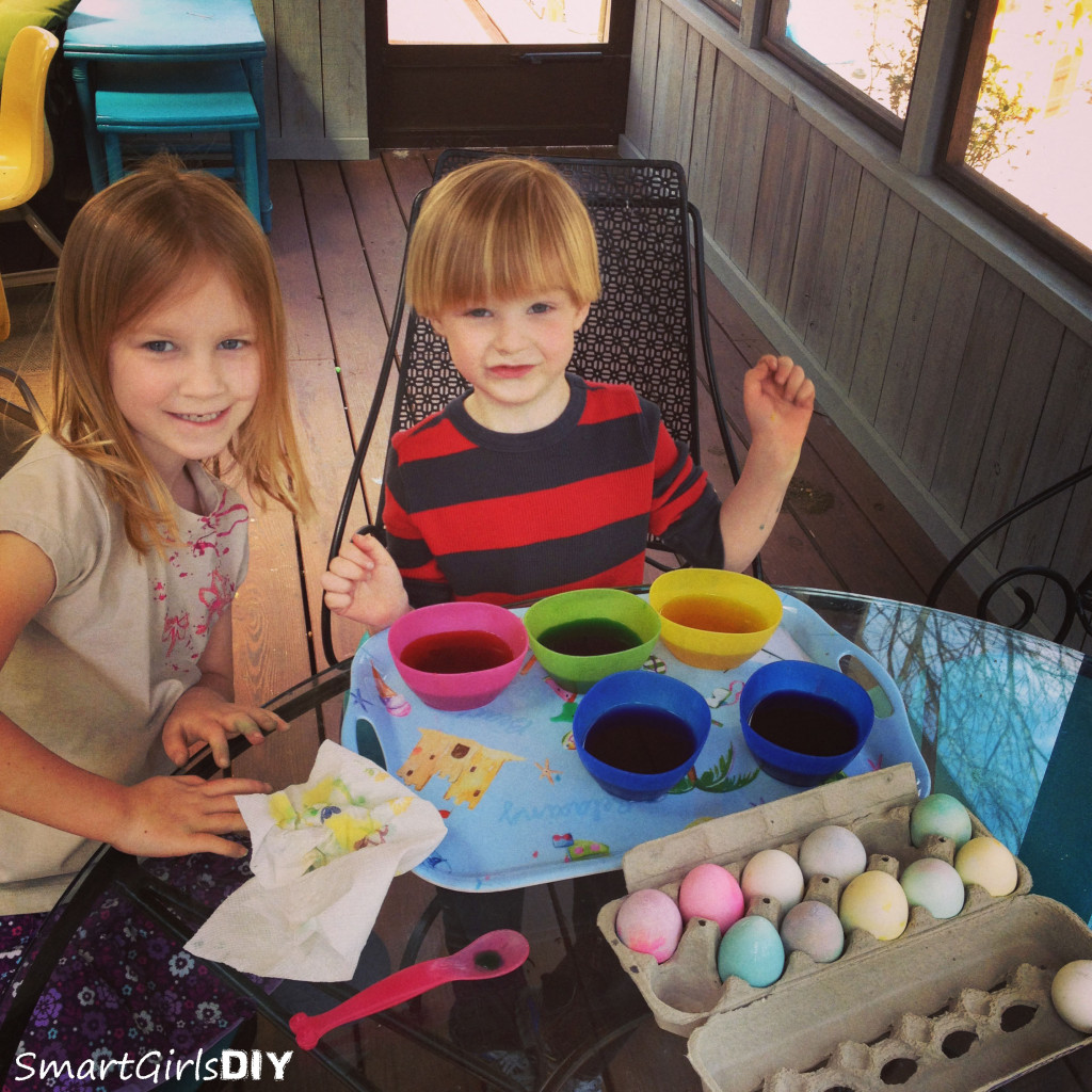 Dying Easter eggs on the back porch