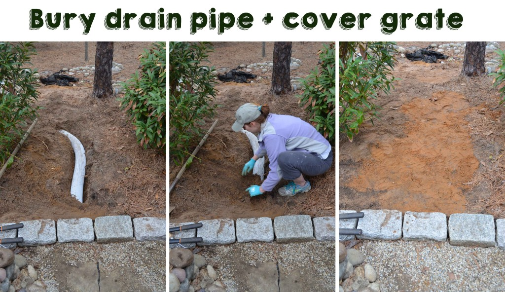 Bury drain pipe and cover grate