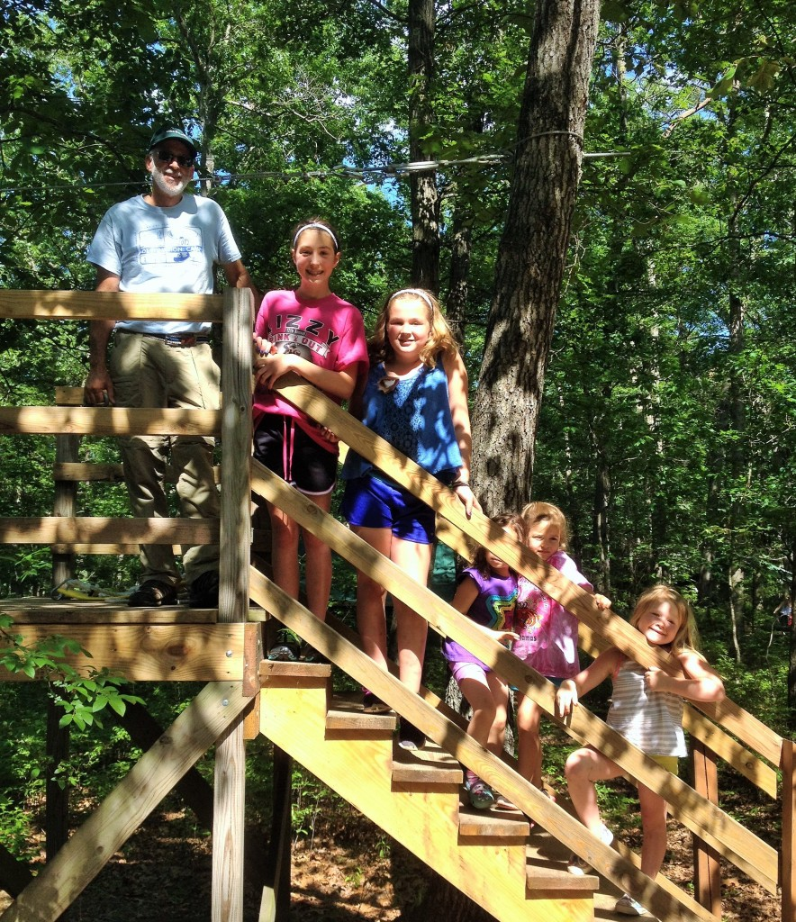 Camp Sacajawea mini zip line perfect for Daisy Girl Scouts