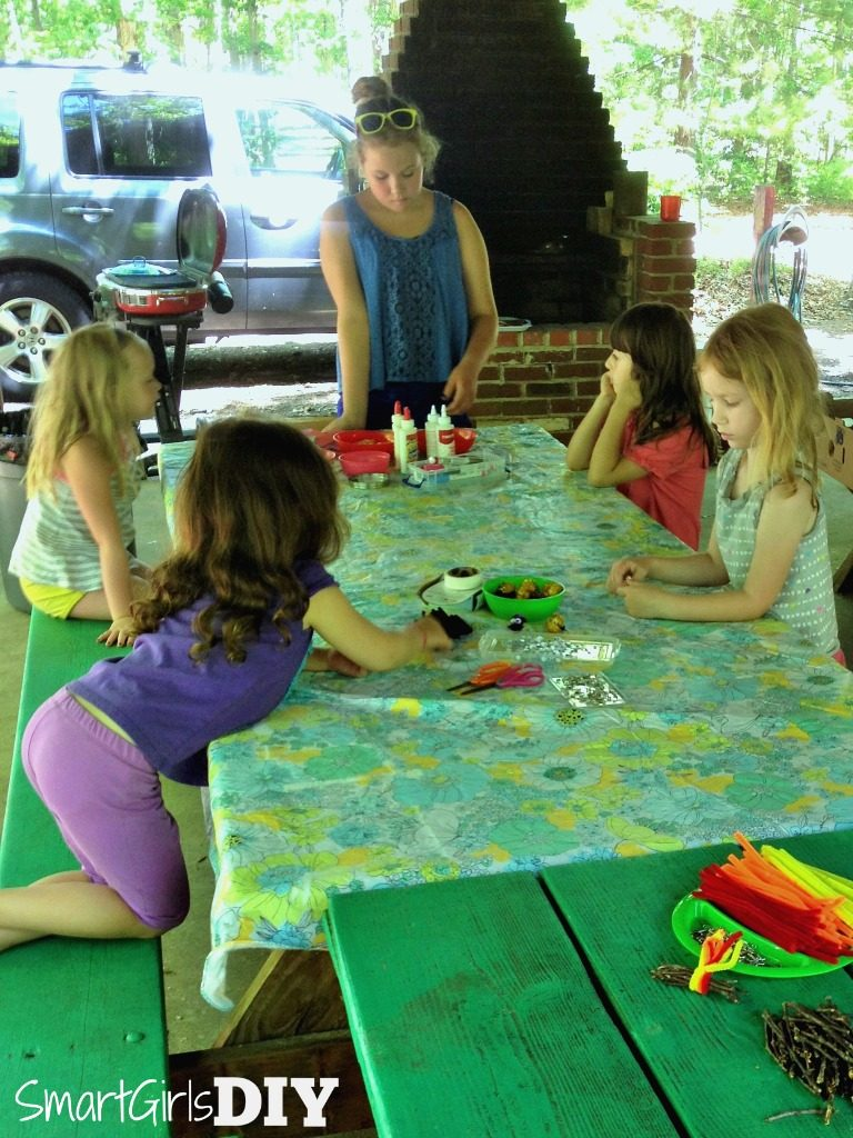 Craft time at Girl Scout camp - making SWAPS with our troop