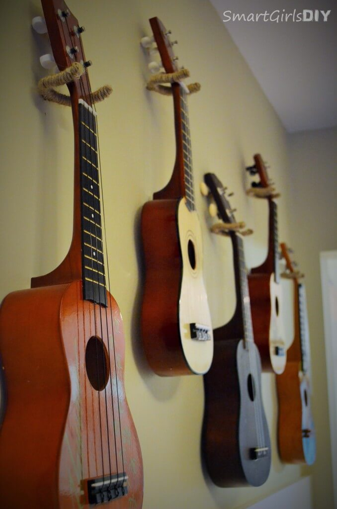How to hang ukeleles on a wall