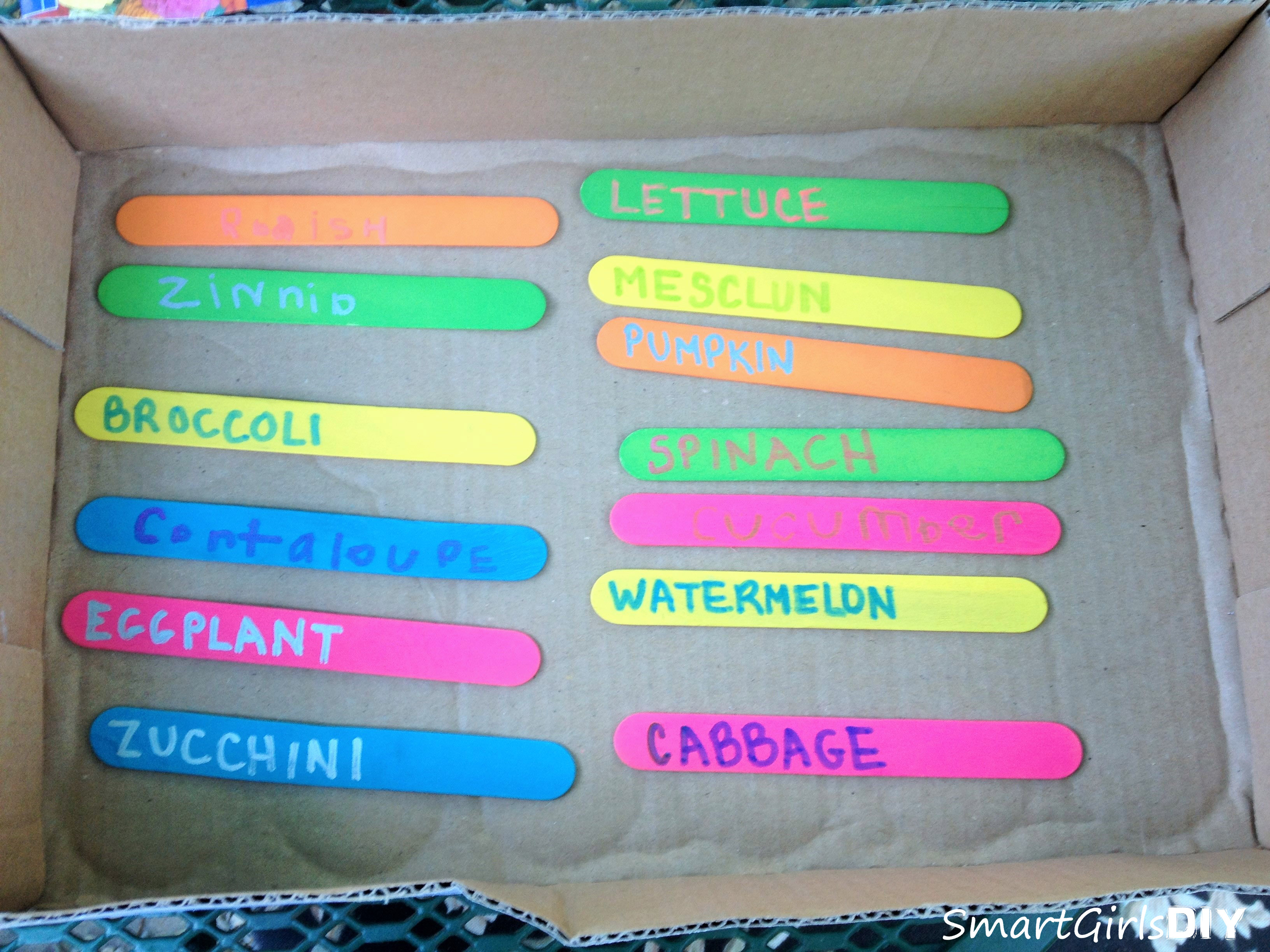 My girls made plant markers with popsicle sticks and sharpie oil-based paint markers