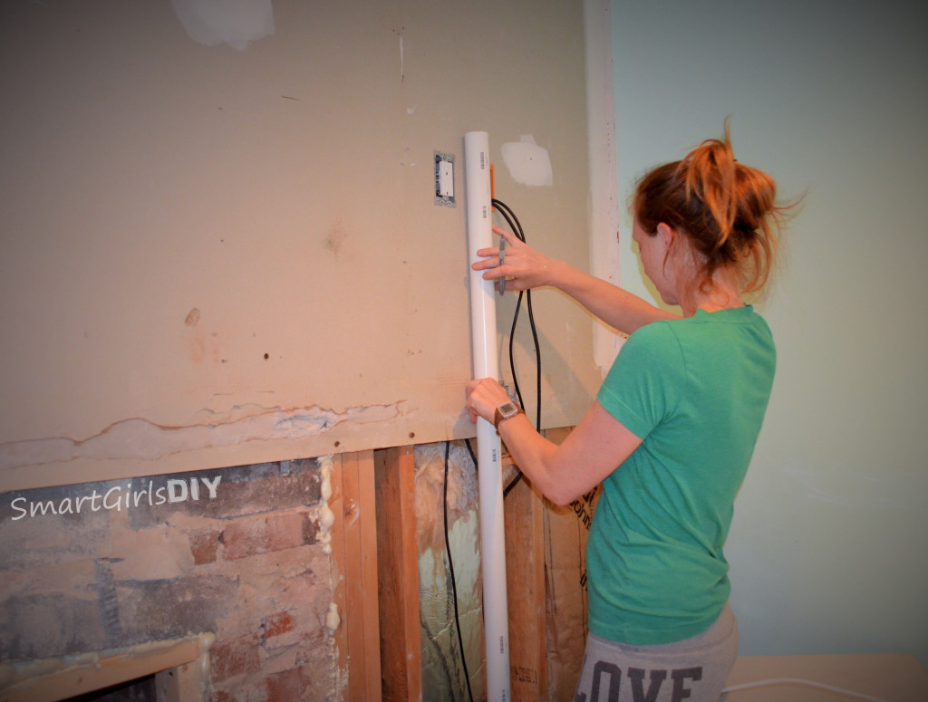 Smart Girls DIY - Adding PVC behind wall for TV cords
