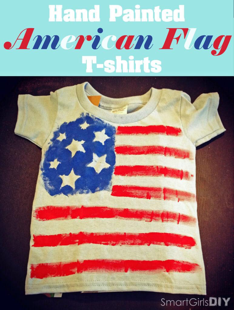 Hand Painted American Flag Shirts - Smart Girls DIY
