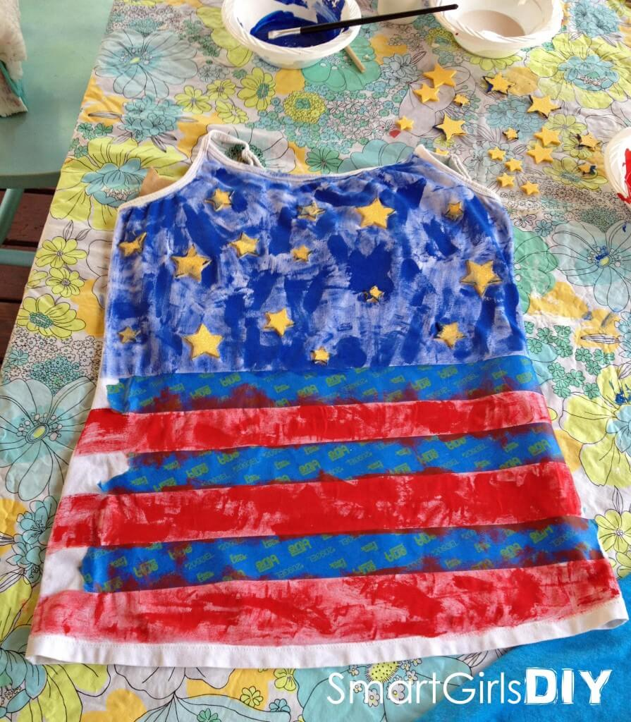 tank top painted stars and stripes