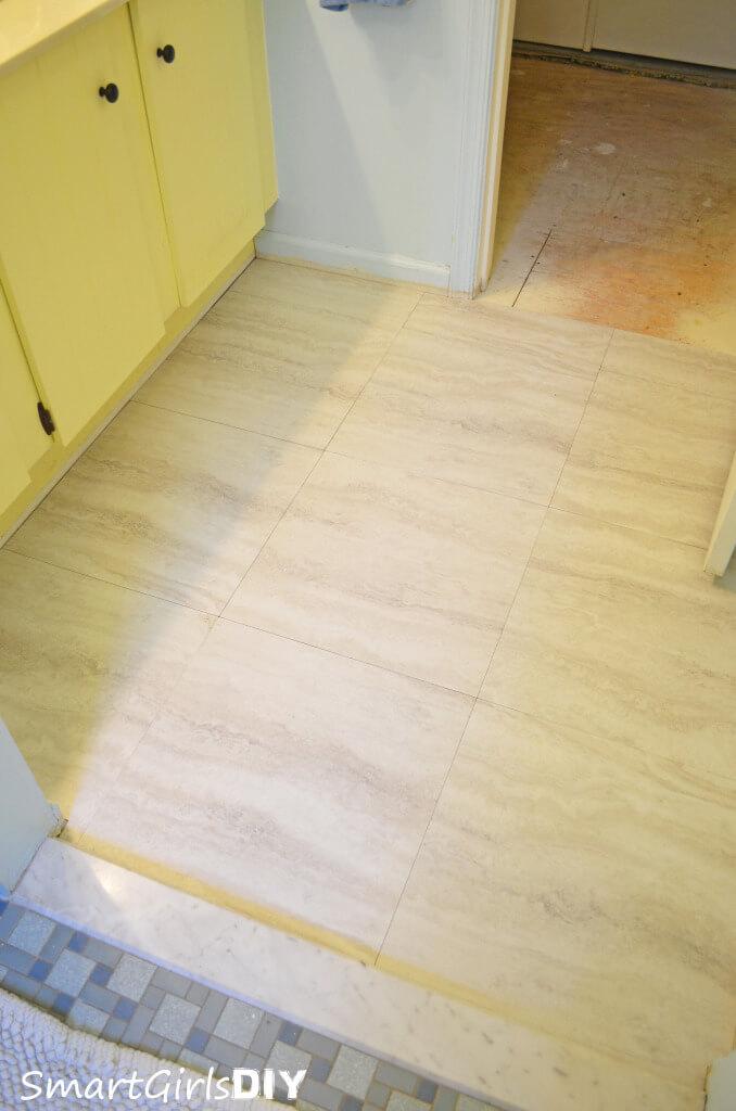 Bathroom vinyl tile over plywood
