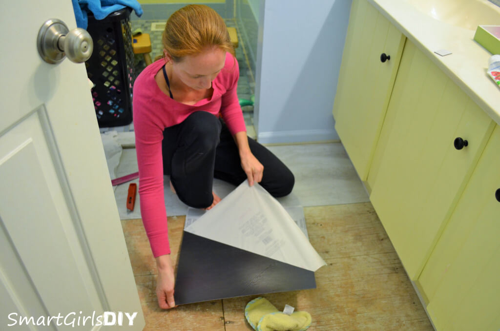 Easy DIY peel and stick tile install