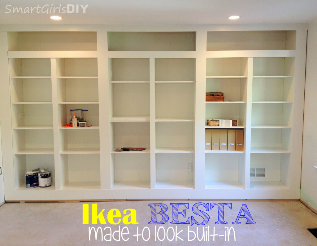 diy built in bookshelves using ikea besta family room 8. Black Bedroom Furniture Sets. Home Design Ideas