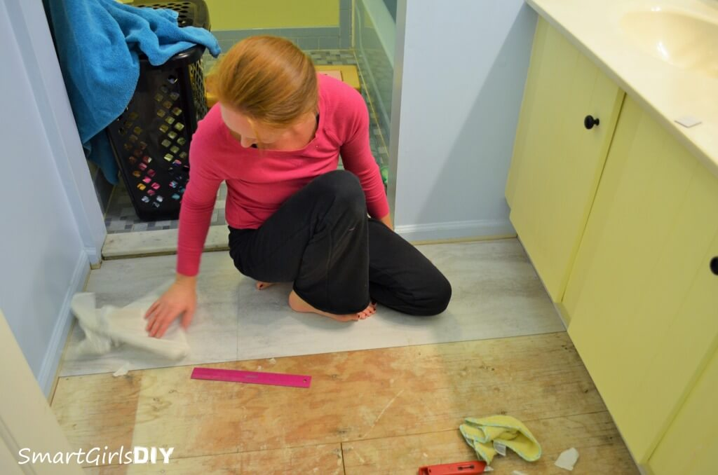 Installing Peel and Stick Tile in the Bathroom