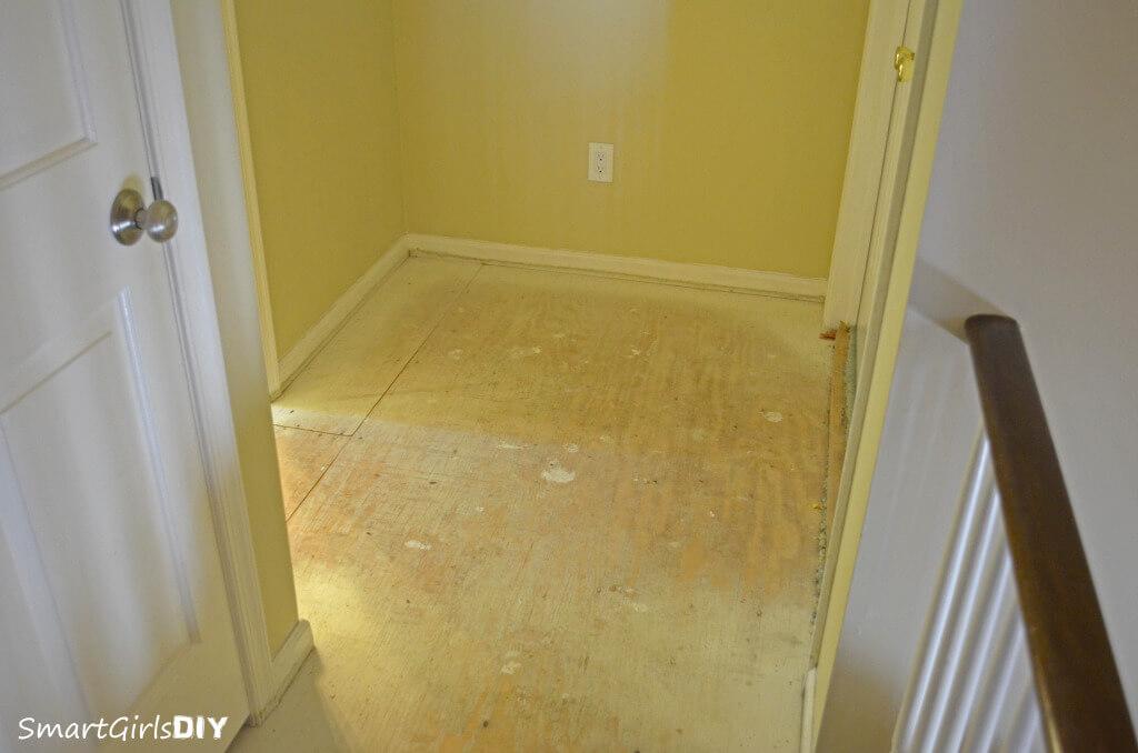 Plywood hallway waiting for hardwood install