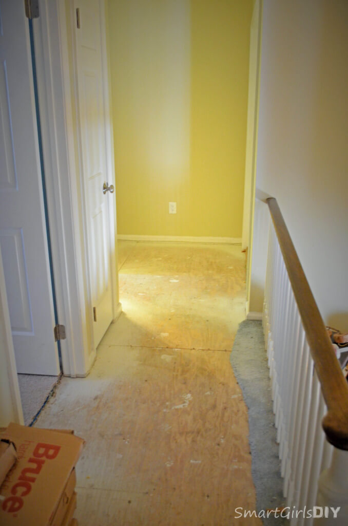 Upstairs hallway will get new Bruce hardwood to match downstairs