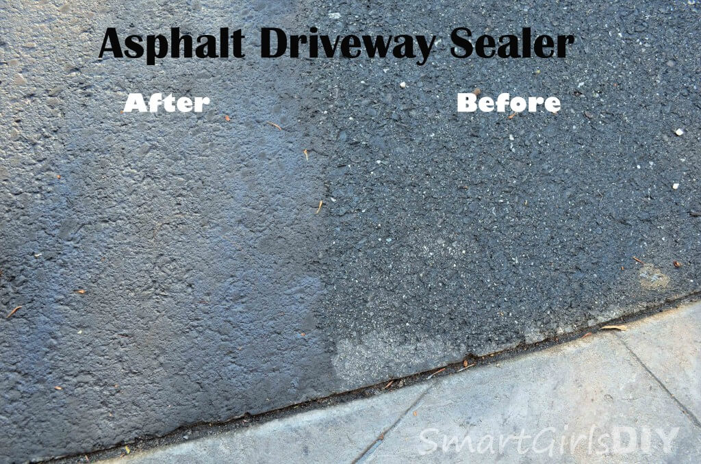 Asphalt Driveway Sealer - before and after
