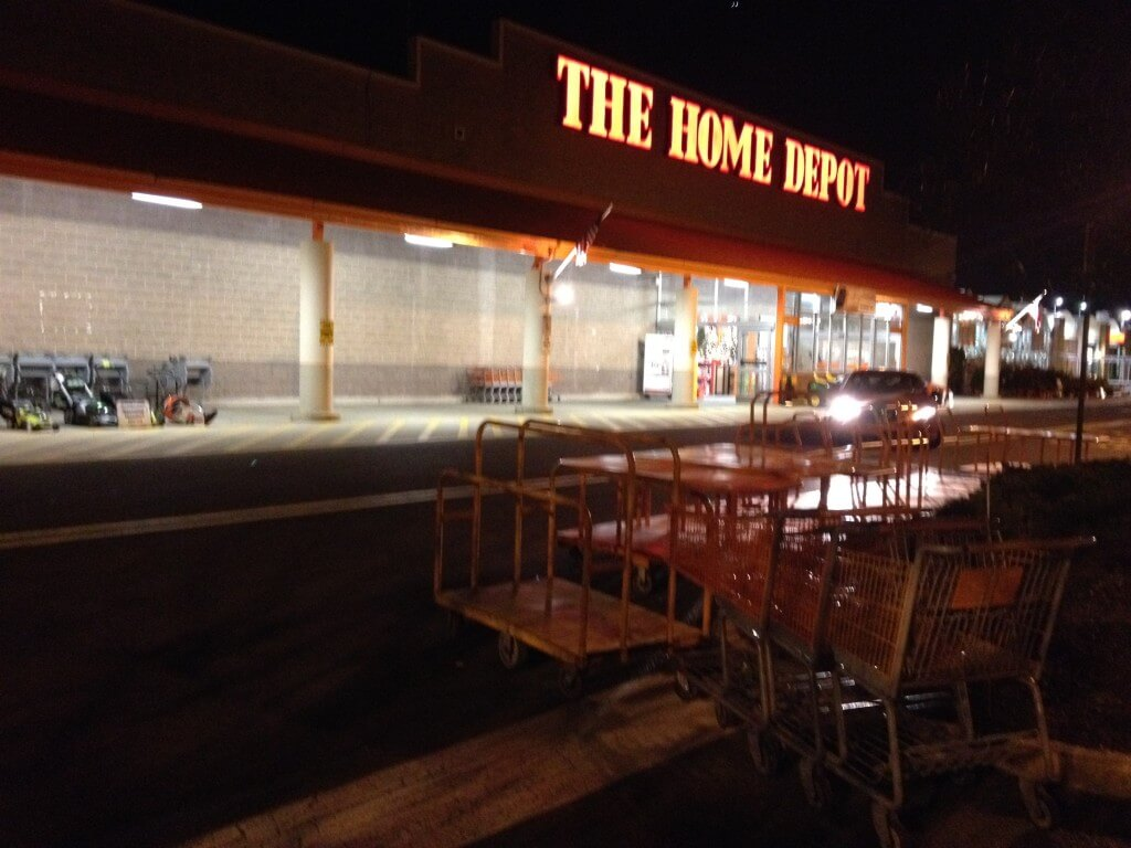 late night trip to home depot to search for asphalt sealer