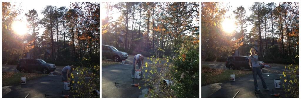 Opening a bucket of asphalt sealer