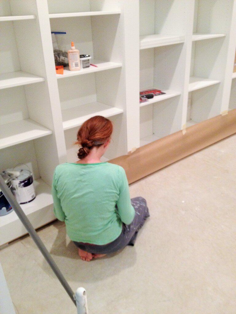 Taping off built-in bookshelves
