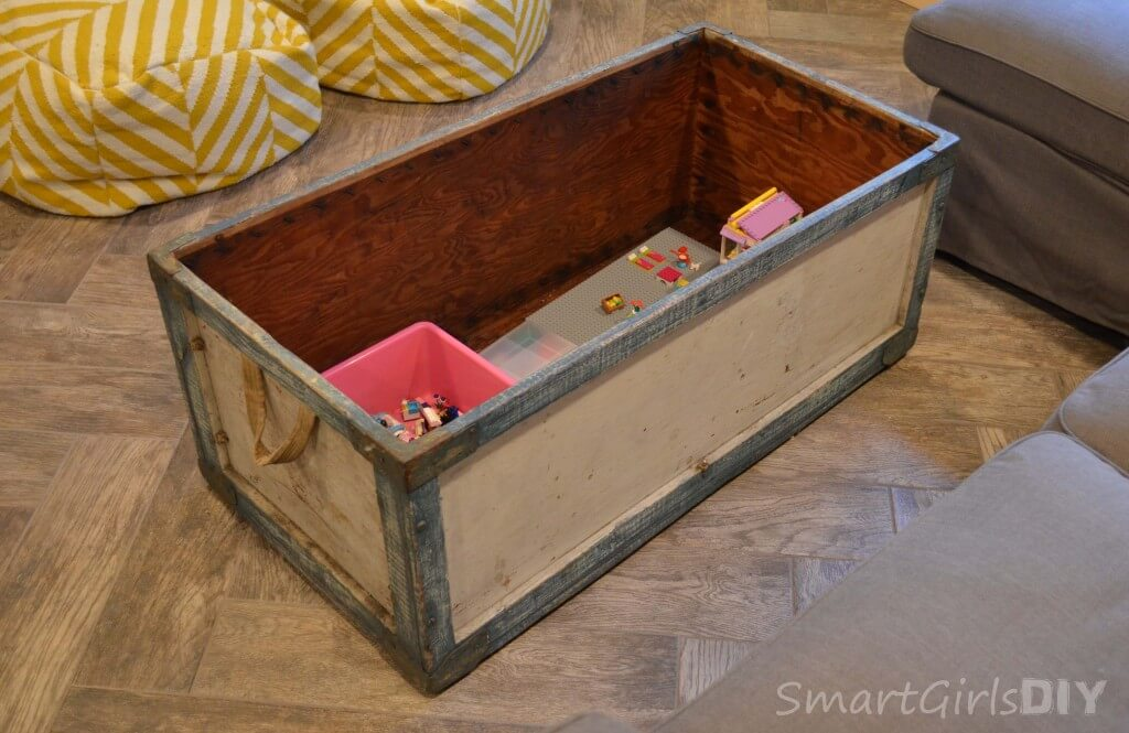 Vintage crate made into a DIY coffee table