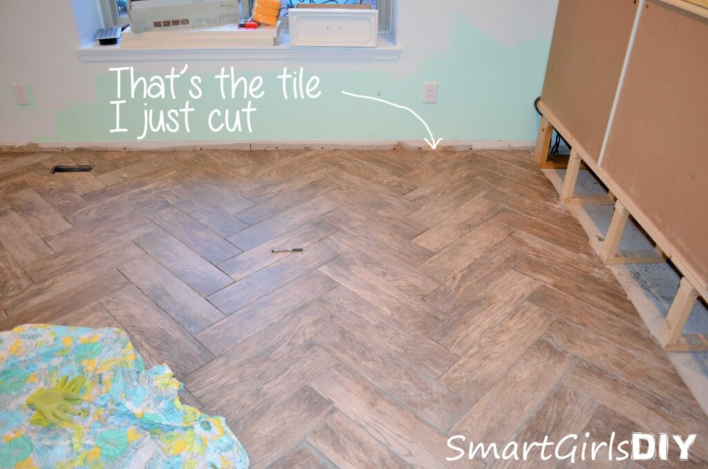 After all the herringbone tiles were cut and dry fit